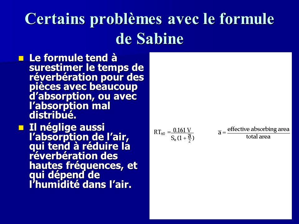 Certains problèmes avec le formule de Sabine