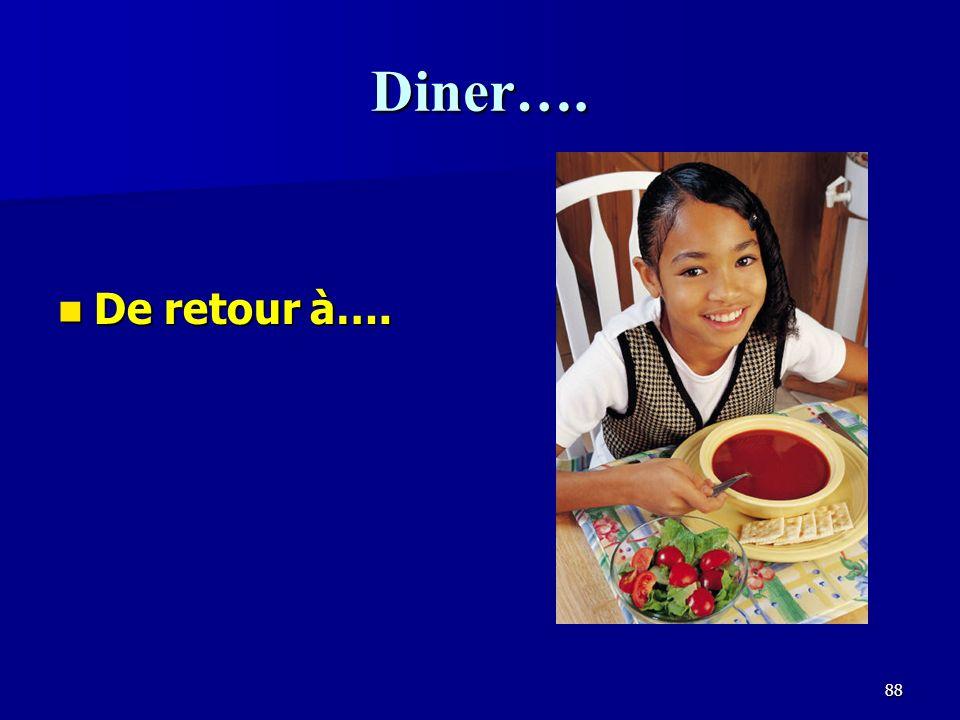 Diner…. De retour à….