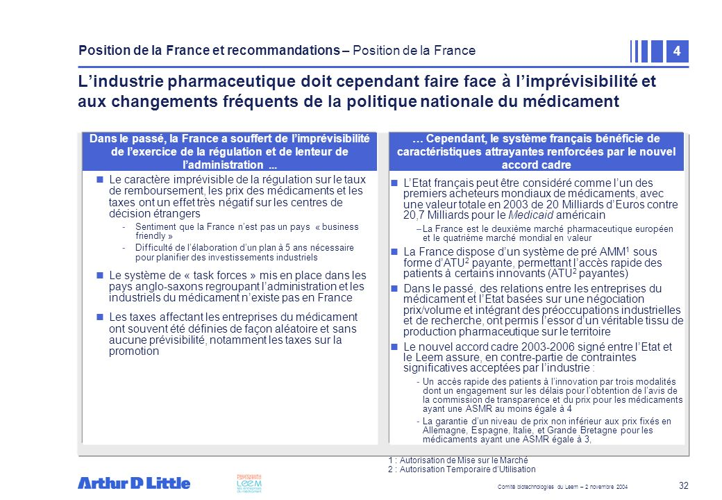 Position de la France et recommandations – Position de la France