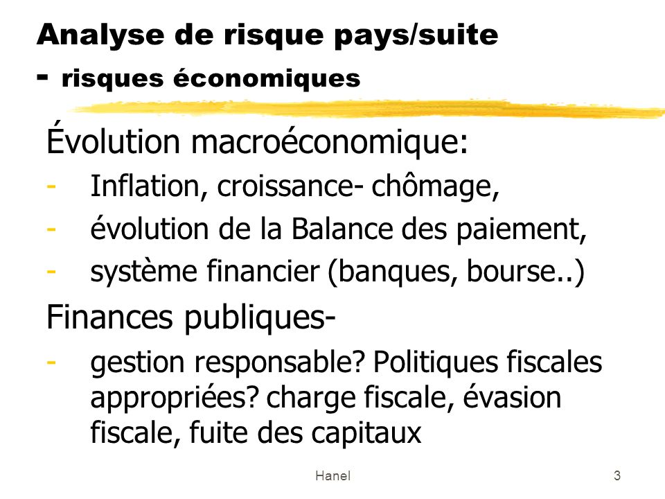 Analyse de risque pays/suite - risques économiques