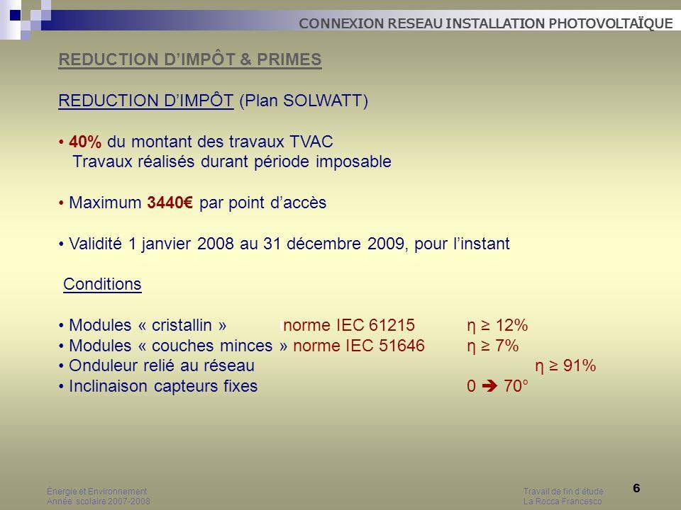 REDUCTION D'IMPÔT & PRIMES REDUCTION D'IMPÔT (Plan SOLWATT)