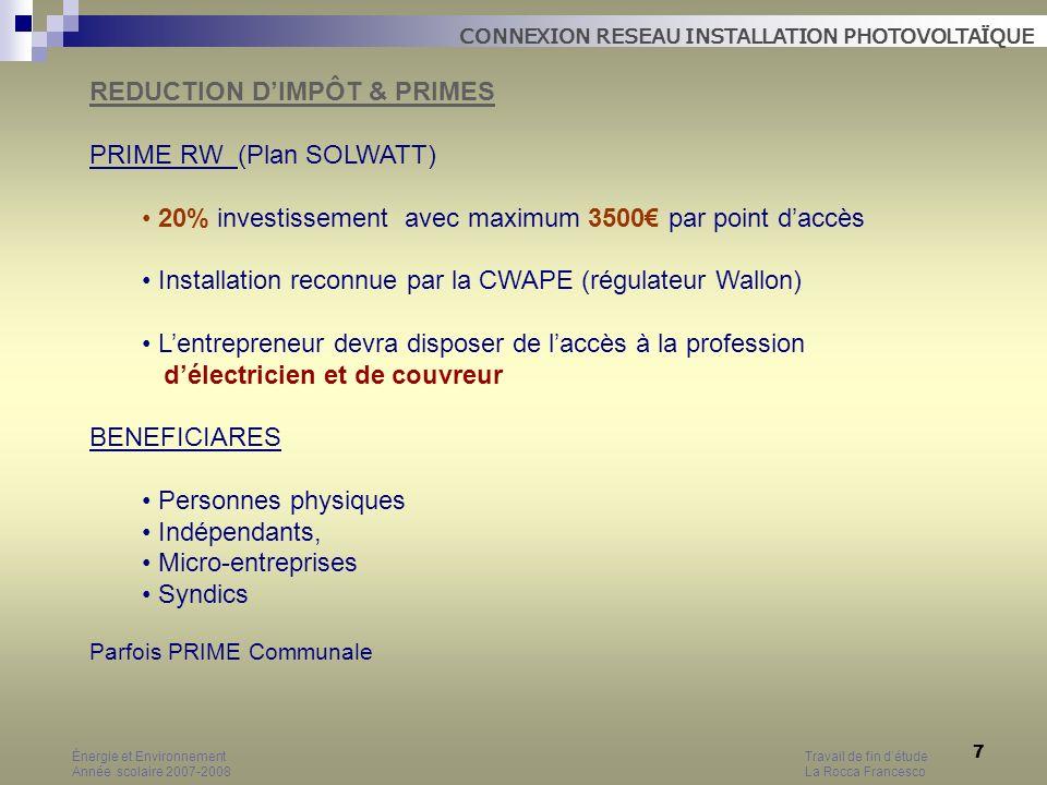 REDUCTION D'IMPÔT & PRIMES PRIME RW (Plan SOLWATT)