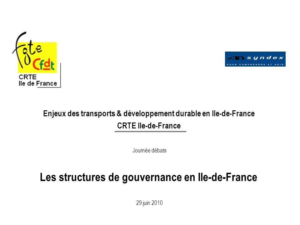 Les structures de gouvernance en Ile-de-France
