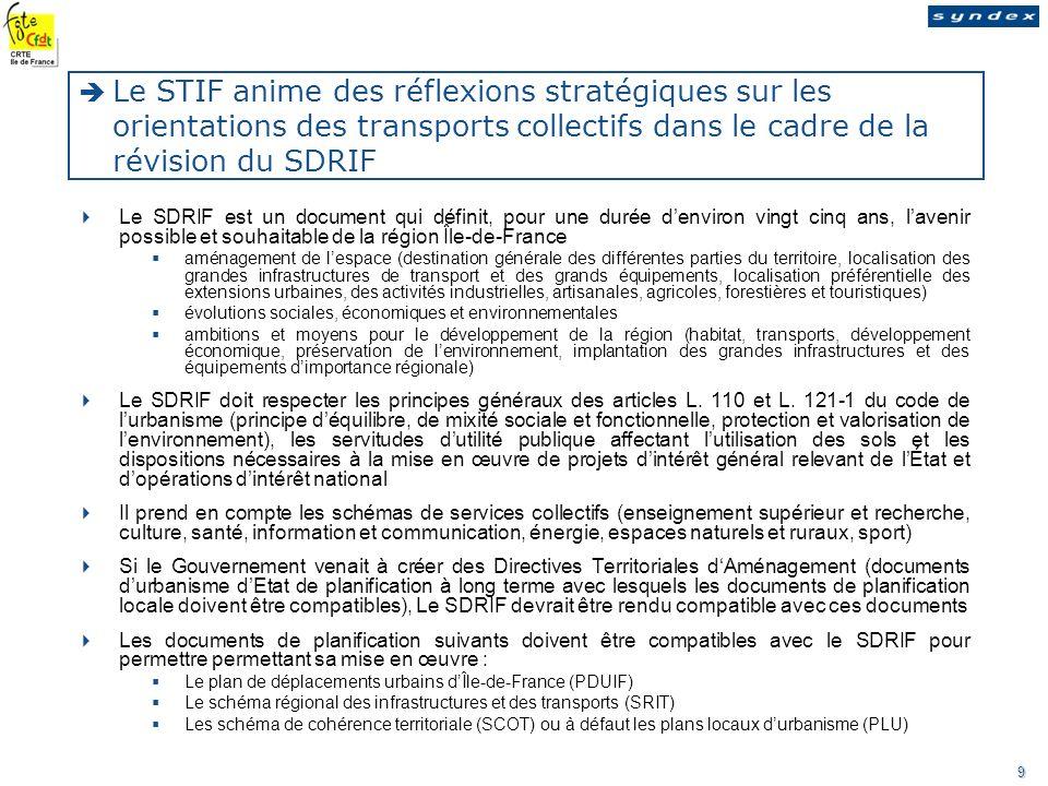 Le STIF anime des réflexions stratégiques sur les orientations des transports collectifs dans le cadre de la révision du SDRIF
