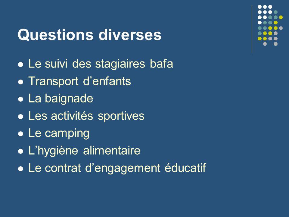 Questions diverses Le suivi des stagiaires bafa Transport d'enfants