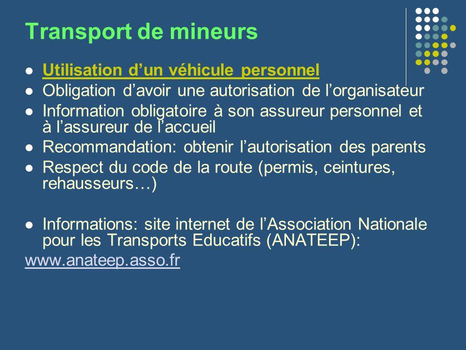 Transport de mineurs Utilisation d'un véhicule personnel