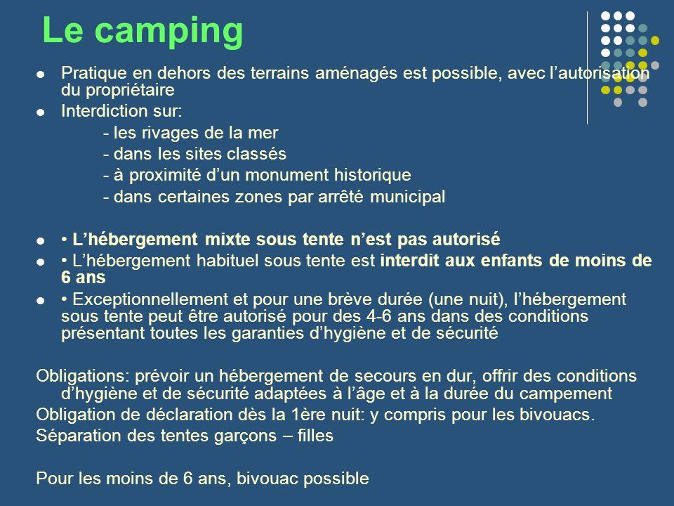 Le camping Pratique en dehors des terrains aménagés est possible, avec l'autorisation du propriétaire.