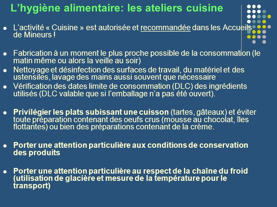 L'hygiène alimentaire: les ateliers cuisine
