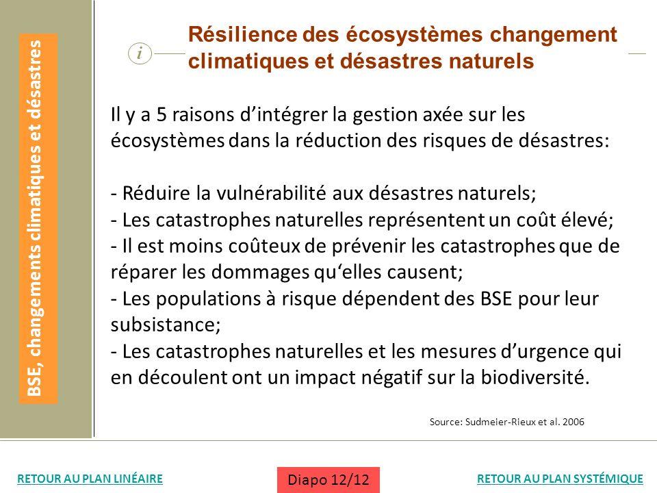 BSE, changements climatiques et désastres