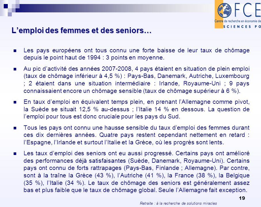 L'emploi des femmes et des seniors…