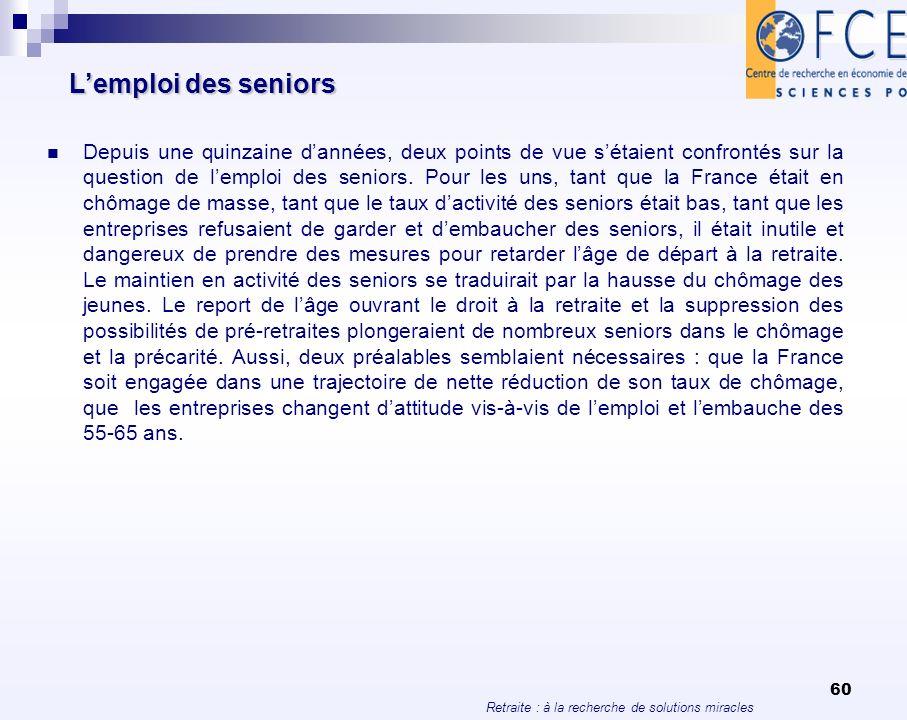 L'emploi des seniors