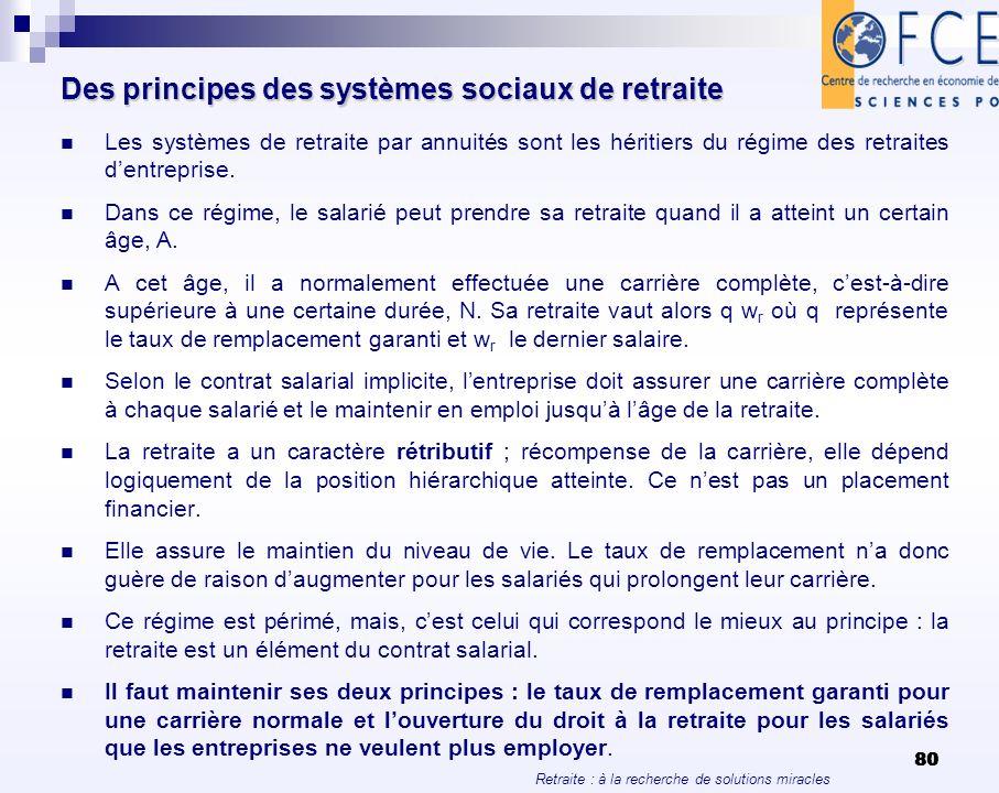 Des principes des systèmes sociaux de retraite