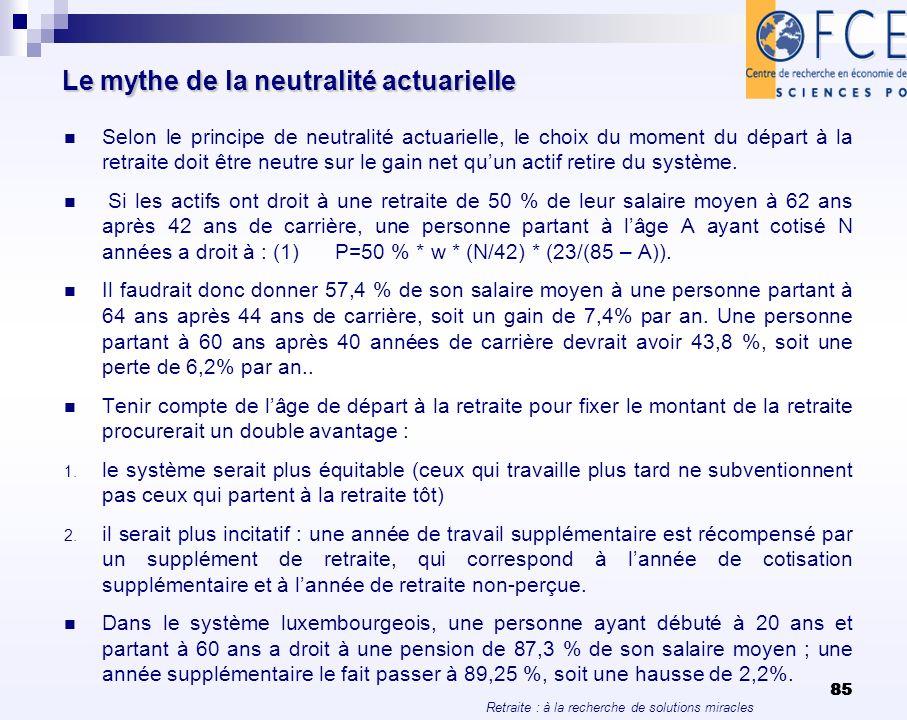 Le mythe de la neutralité actuarielle