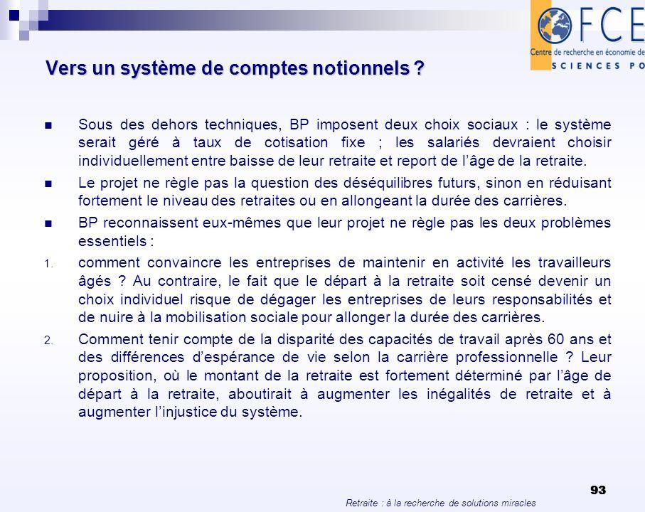 Vers un système de comptes notionnels
