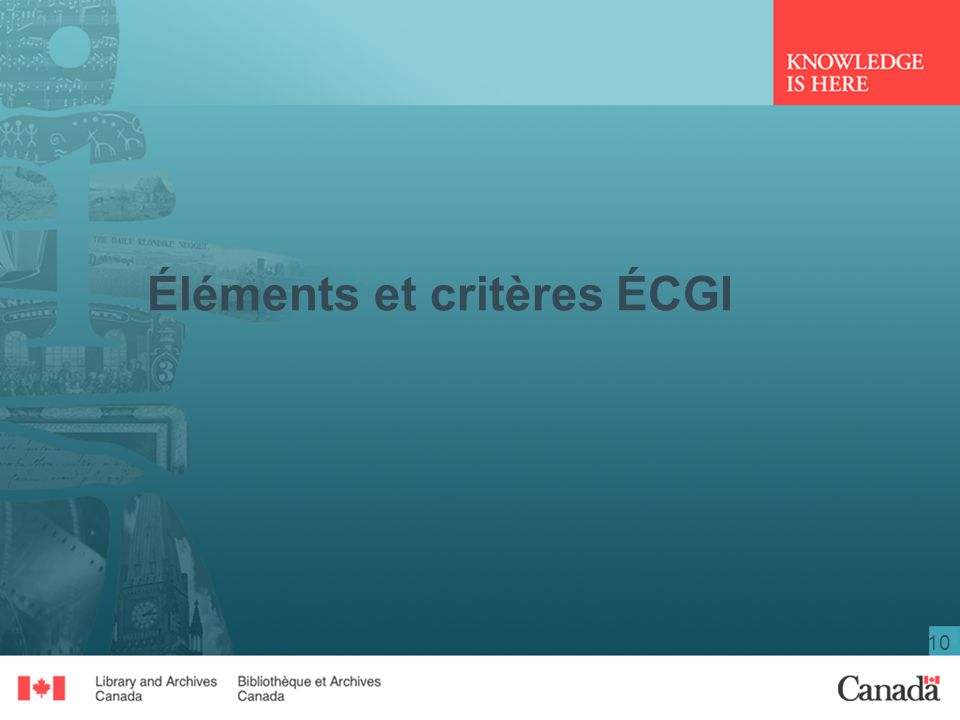 Éléments et critères ÉCGI