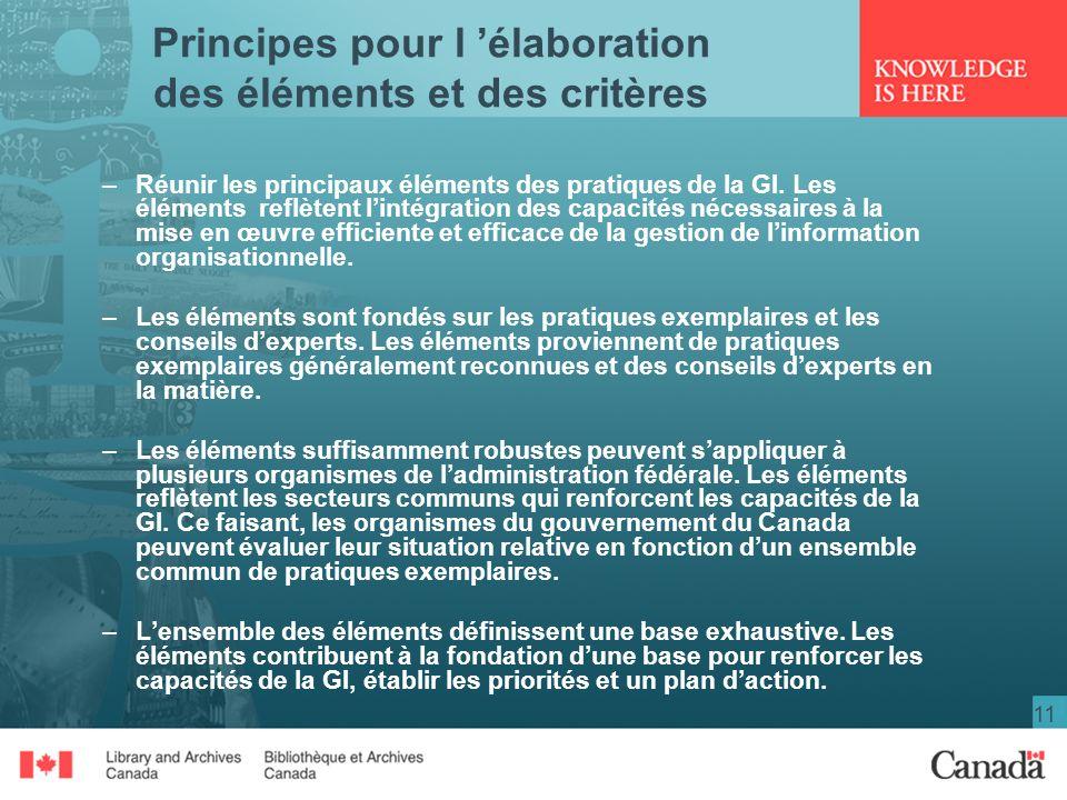 Principes pour l 'élaboration des éléments et des critères