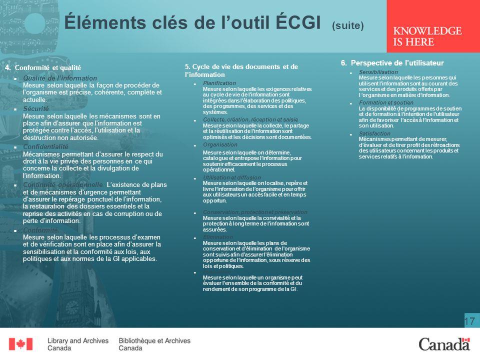 Éléments clés de l'outil ÉCGI (suite)