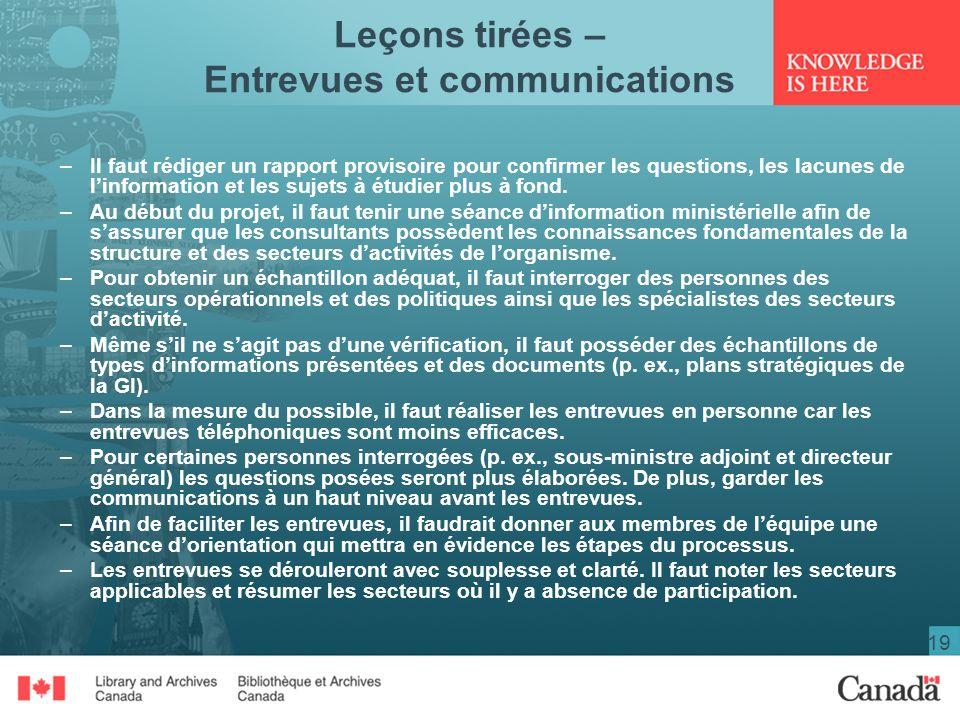 Leçons tirées – Entrevues et communications