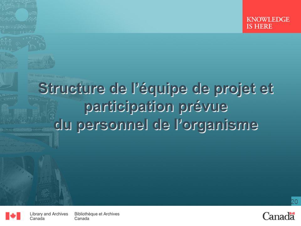 Structure de l'équipe de projet et participation prévue du personnel de l'organisme