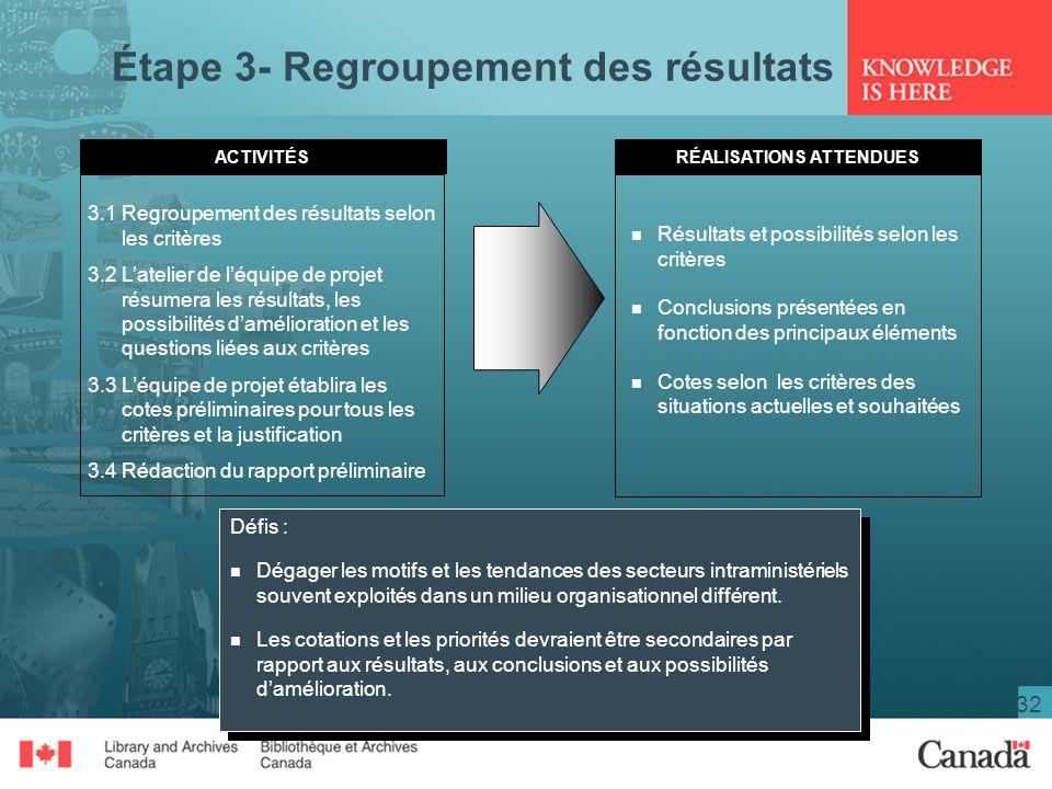 Étape 3- Regroupement des résultats