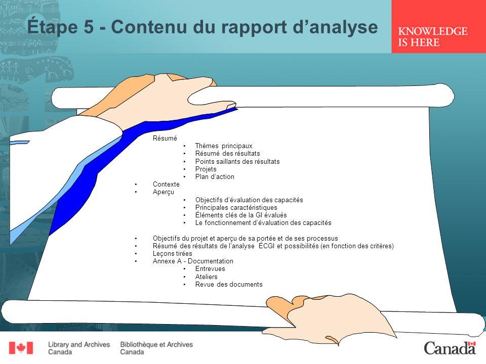 Étape 5 - Contenu du rapport d'analyse