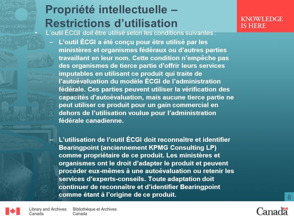 Propriété intellectuelle – Restrictions d'utilisation