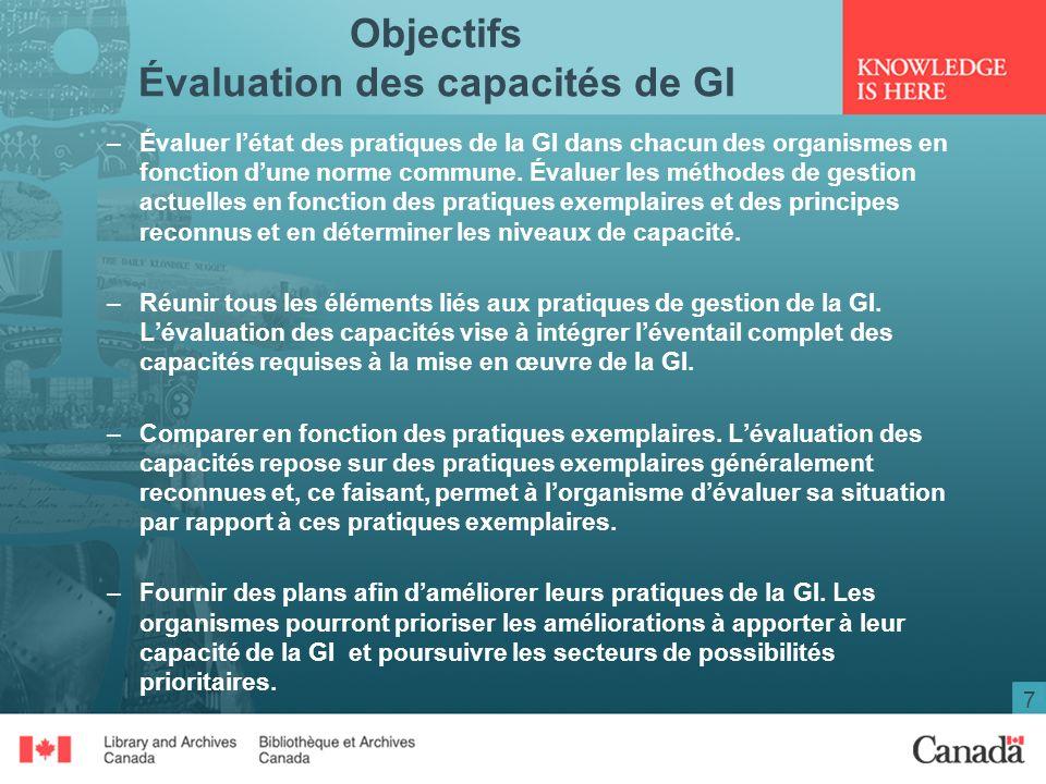 Objectifs Évaluation des capacités de GI