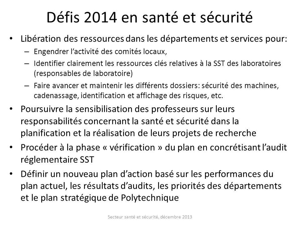 Défis 2014 en santé et sécurité