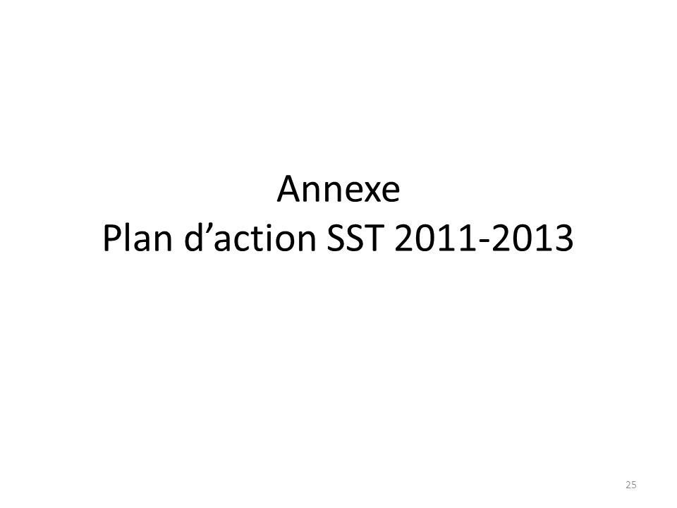 Annexe Plan d'action SST 2011-2013