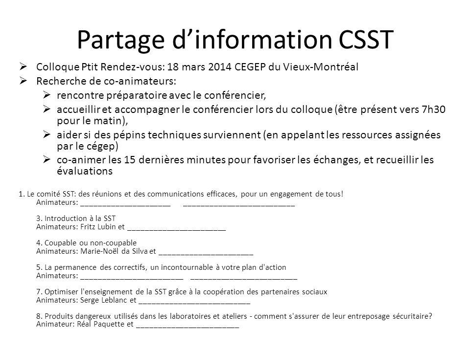 Partage d'information CSST