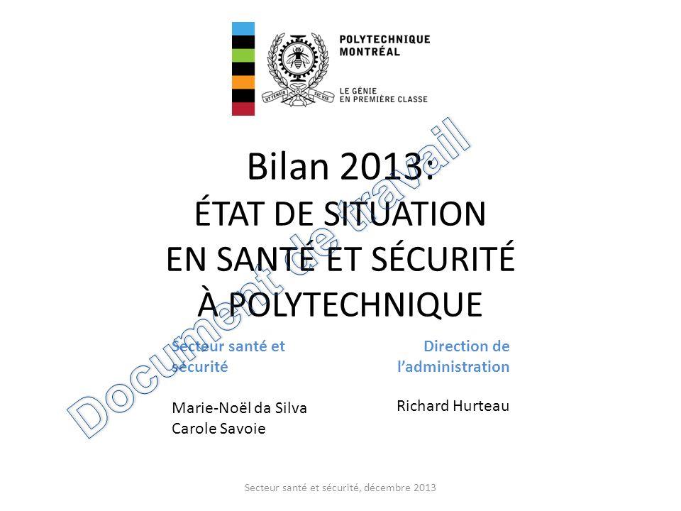 Bilan 2013: ÉTAT DE SITUATION EN SANTÉ ET SÉCURITÉ À POLYTECHNIQUE
