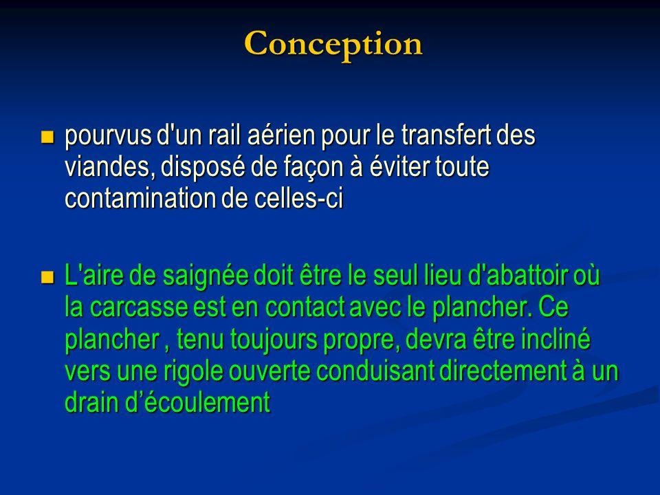 Conception pourvus d un rail aérien pour le transfert des viandes, disposé de façon à éviter toute contamination de celles-ci.