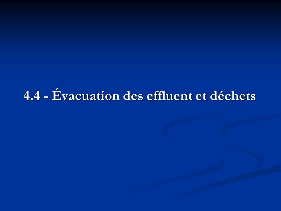 4.4 - Évacuation des effluent et déchets