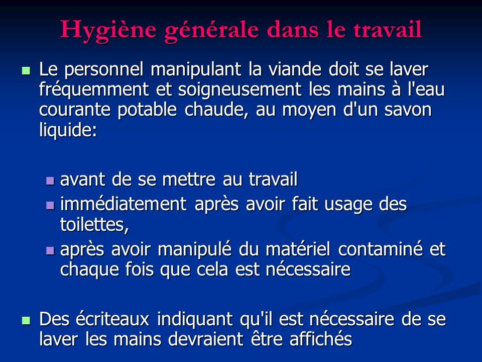 Hygiène générale dans le travail