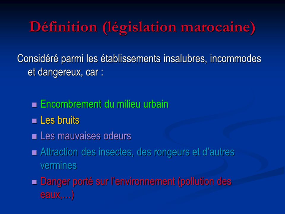 Définition (législation marocaine)