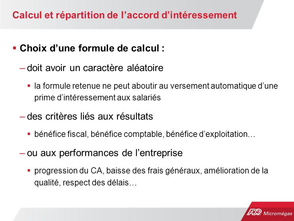 Calcul et répartition de l'accord d'intéressement