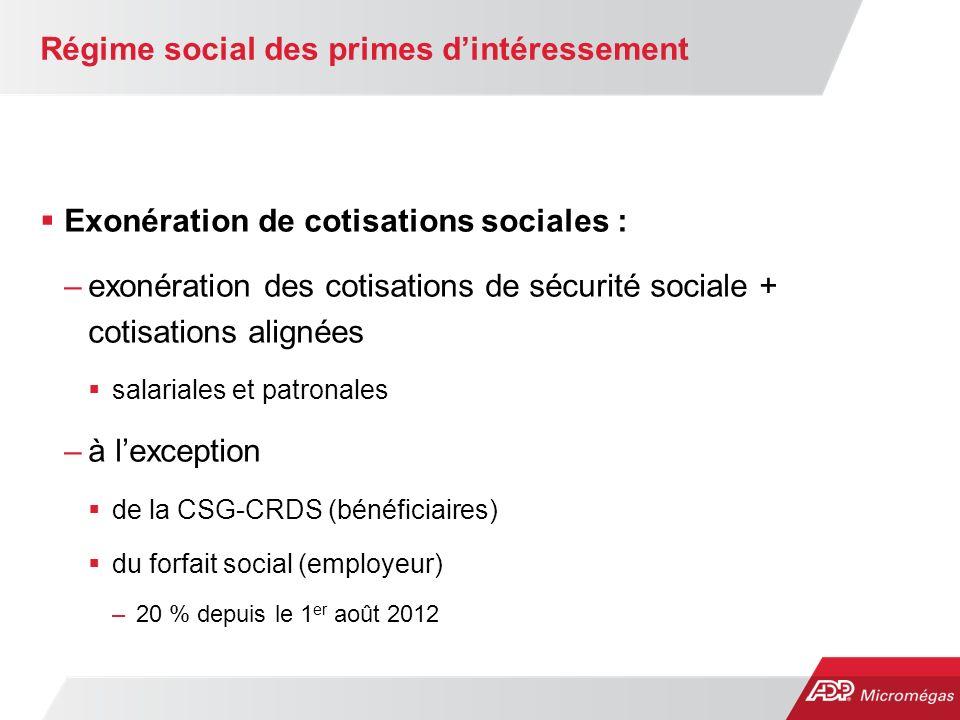 Régime social des primes d'intéressement