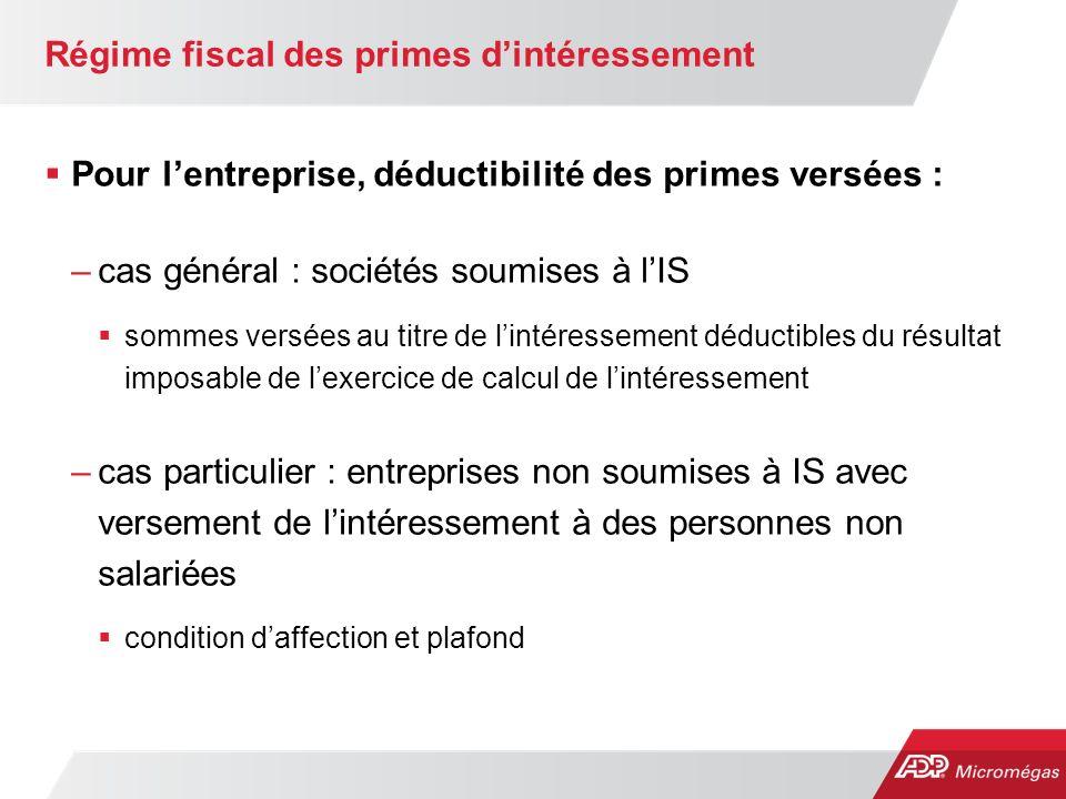 Régime fiscal des primes d'intéressement