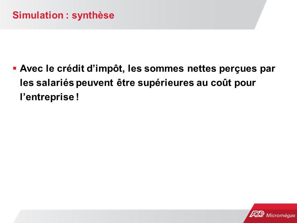 Simulation : synthèse Avec le crédit d'impôt, les sommes nettes perçues par les salariés peuvent être supérieures au coût pour l'entreprise !