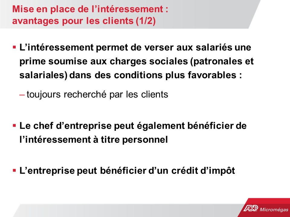 Mise en place de l'intéressement : avantages pour les clients (1/2)