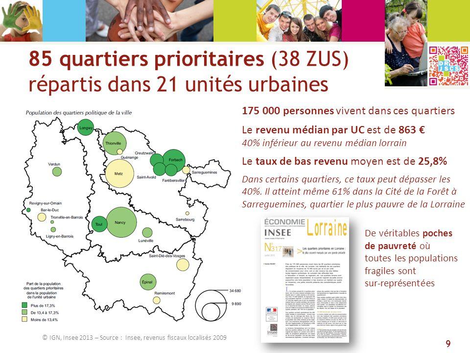 85 quartiers prioritaires (38 ZUS) répartis dans 21 unités urbaines