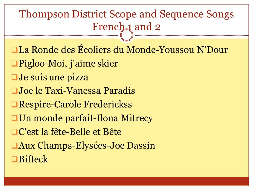 Thompson District Scope and Sequence Songs French 1 and 2