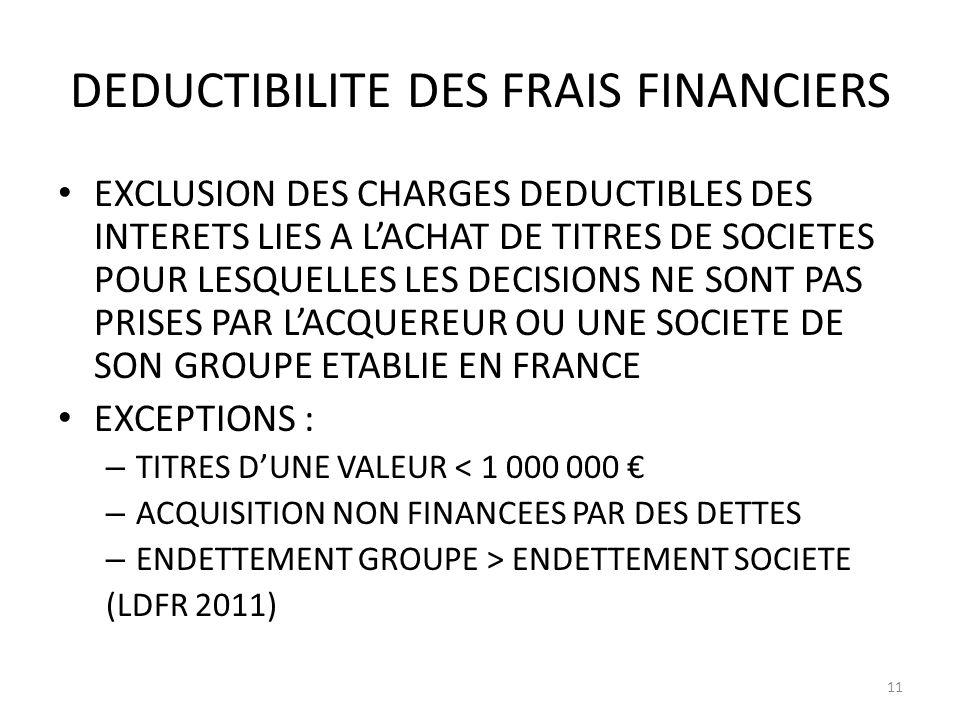 DEDUCTIBILITE DES FRAIS FINANCIERS