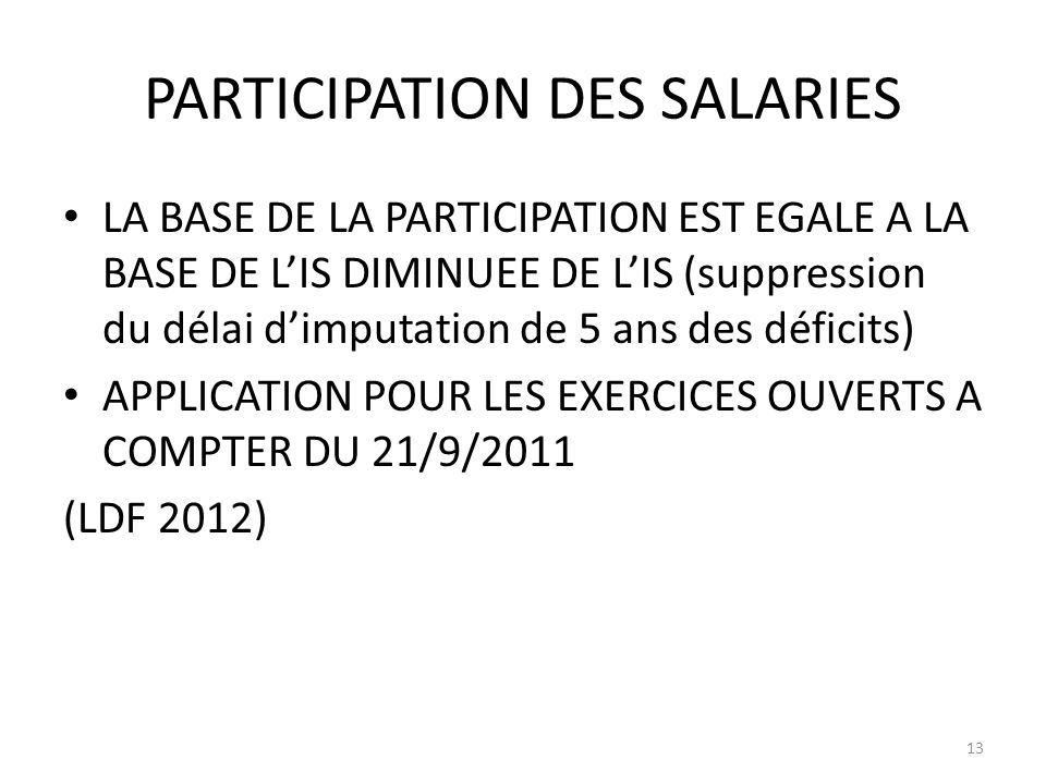 PARTICIPATION DES SALARIES