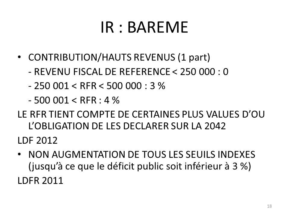 IR : BAREME CONTRIBUTION/HAUTS REVENUS (1 part)