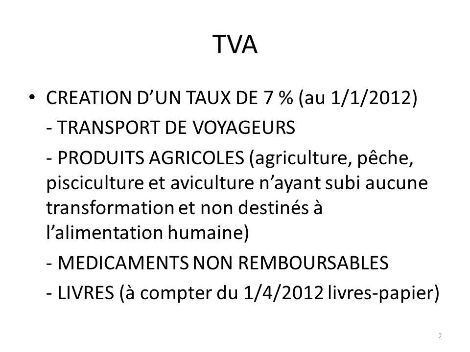 TVA CREATION D'UN TAUX DE 7 % (au 1/1/2012) - TRANSPORT DE VOYAGEURS