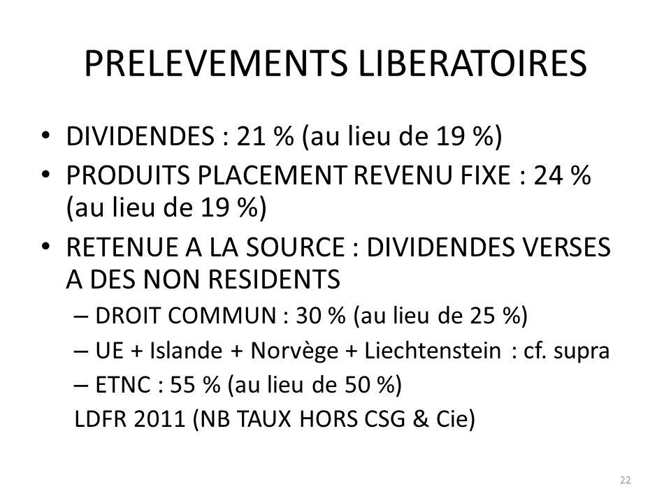 PRELEVEMENTS LIBERATOIRES