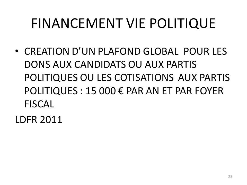 FINANCEMENT VIE POLITIQUE