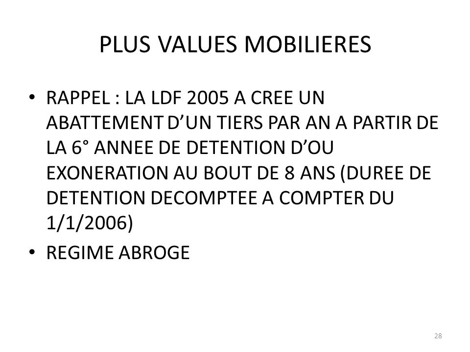 PLUS VALUES MOBILIERES