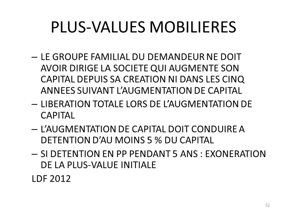 PLUS-VALUES MOBILIERES